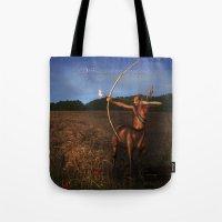 sagittarius Tote Bags featuring Sagittarius by Viggart