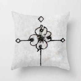 """Monogram """"T"""" - Wand, Dogwood Flower, Quill Pen, & Diamonds Throw Pillow"""