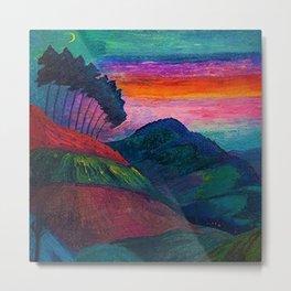 'Farmer on his Way Home at Sunrise' mountain landscape by Marianne von Werefkin Metal Print