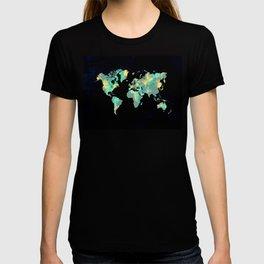 world map 87 green blue T-shirt