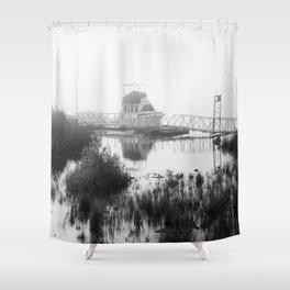 Foggy Harbor North Shore 5 BW Shower Curtain