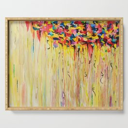 OPPOSITES LOVE Raining Sunshine - Bold Bright Sunny Colorful Rain Storm Abstract Acrylic Painting Serving Tray