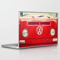 vw bus Laptop & iPad Skins featuring Red VW Bus by Anna Dykema Photography