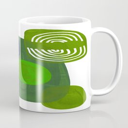 Modern Mid Century Fun Colorful Abstract Minimalist Painting Shapes & Patterns Swamp Monster Greens Coffee Mug
