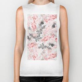 Vintag & Shabby Chic - Living Coral Summer Roses Biker Tank