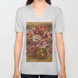 """Auguste Renoir """"Anémones dans un vase"""" Unisex V-Neck"""