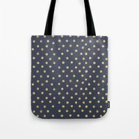 gold dots Tote Bags featuring Gold Dots on Blue by Tamsin Lucie