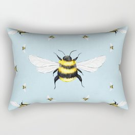 Bees Illustration // Blue Background Rectangular Pillow