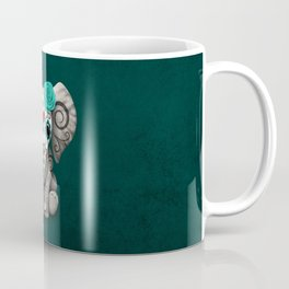 Teal Blue Day of the Dead Sugar Skull Baby Elephant Coffee Mug