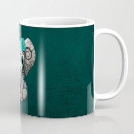 Teal Blue Day of the Dead Sugar Skull Baby Elephant Coffee Mug