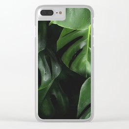 Tropical Monstera Leaves Wet Supple Foliage Dark Dense Forest Clear iPhone Case