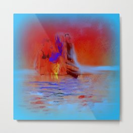 A Late Night Swim with Friends Metal Print