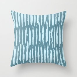 Vertical Dash Turquoise on Teal Blue Throw Pillow