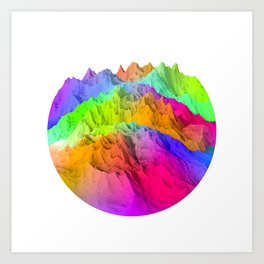 Holopunk Mountains Art Print