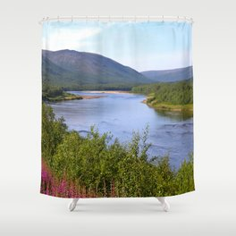 River Landscape Summer Scenery Shower Curtain