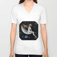 mermaid V-neck T-shirts featuring Mermaid by Cs025
