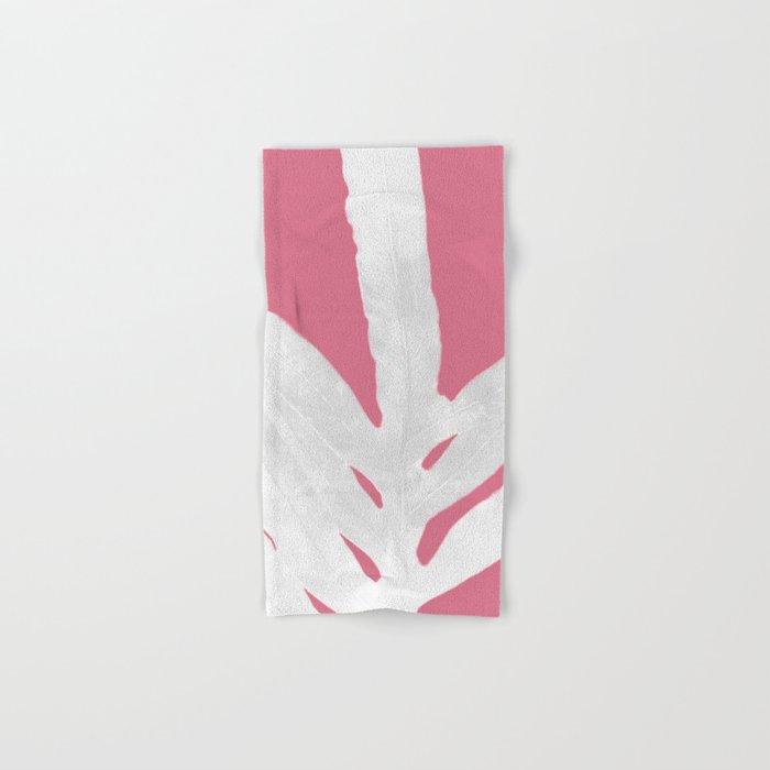 Green Fern on Pale Pink Bashful Inverted Hand & Bath Towel