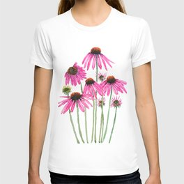 pink coneflowers watercolor T-shirt