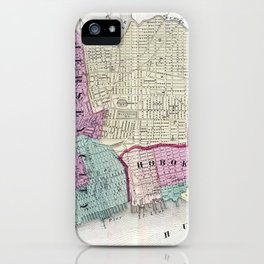 Vintage Map of Jersey City, Hoboken & Weehawken NJ iPhone Case