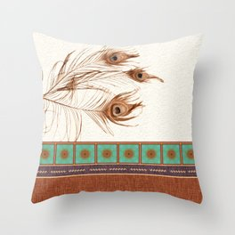 Peacock Feathers and Graphic Stripes and Tile Throw Pillow
