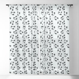 Irregular Dots, White And Black Sheer Curtain