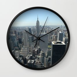 New York Empire State with Skyline and blue sky Wall Clock