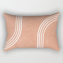 Mid Century Modern 2 - Geometrical Abstract - Minimal Print - Terracotta Abstract - Burnt Sienna Rectangular Pillow