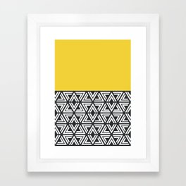 Black, White and Yellow Geo Framed Art Print