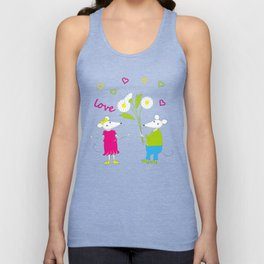 pair of white enamored mouses Unisex Tank Top