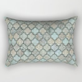 Old Moroccan Tiles Pattern Teal Beige Distressed Style Rectangular Pillow