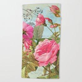 Vintage Flowers #3 Beach Towel