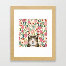 Cat floral pet portrait tabby cats Framed Art Print