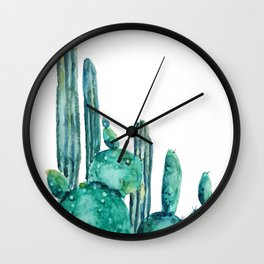 cactus jungle watercolor painting Wall Clock