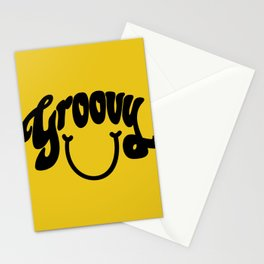 Groovy Smile // Black Smiley Face Fun Retro 70s Hippie Vibes Mustard Yellow Lettering Typography Art Stationery Cards