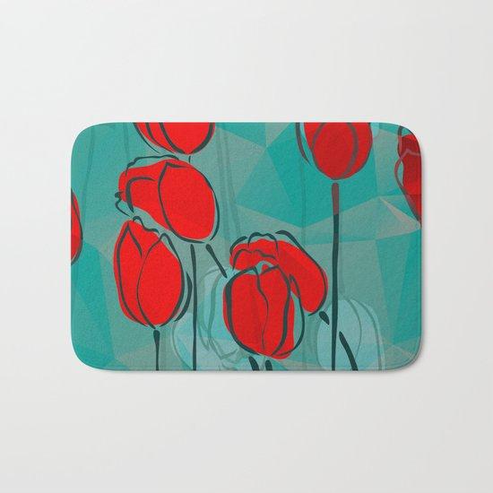Abstract Tulips Bath Mat