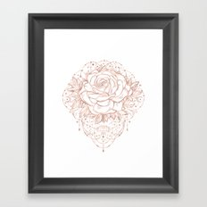 Mandala Lunar Rose Gold Framed Art Print