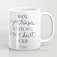 dumbledore Mugs featuring Where your treasure is, there will your heart be also by Earthlightened