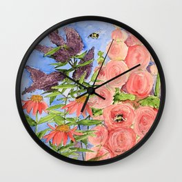 Cottage Garden Butterfly Bush Watercolor Illustration Wall Clock