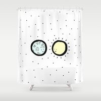 sun and moon Shower Curtains featuring Moon & Sun by itishazel