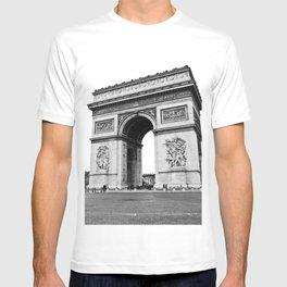 Arc de triomphe, Champs-Élysées, Paris, France black and white photographic cityscape T-shirt