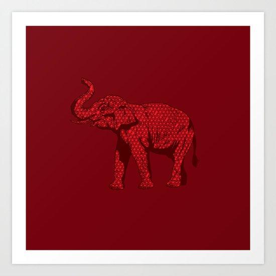 The Red Elephant Art Print