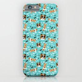 Shelties Shetland Sheepdog Pattern in Blue iPhone Case