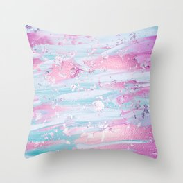 Shine Shimmer Pastel Pink and Blue Modern Throw Pillow