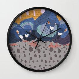 Pigeon Feast Wall Clock