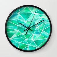 emerald Wall Clocks featuring Emerald by Jamworth