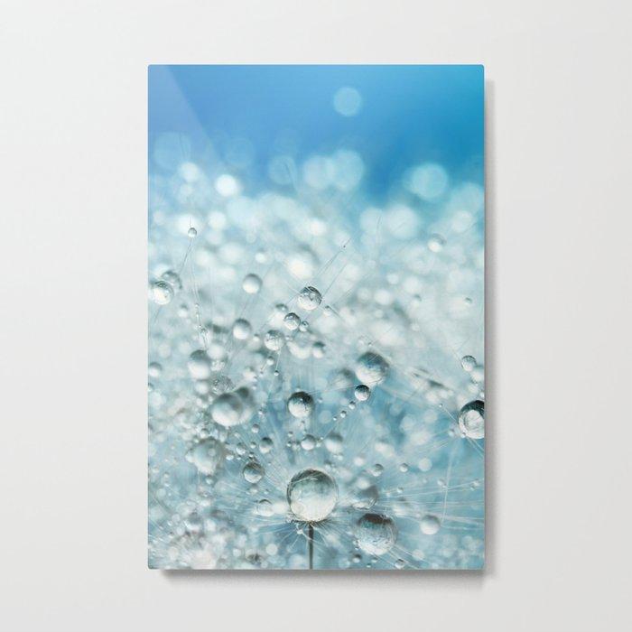 Powder Blue Drops Metal Print