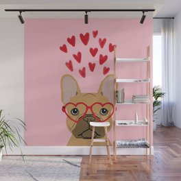 French Bulldog head valentines day love hearts dog breed frenchies Wall Mural