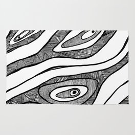 Black Waves Linework Rug
