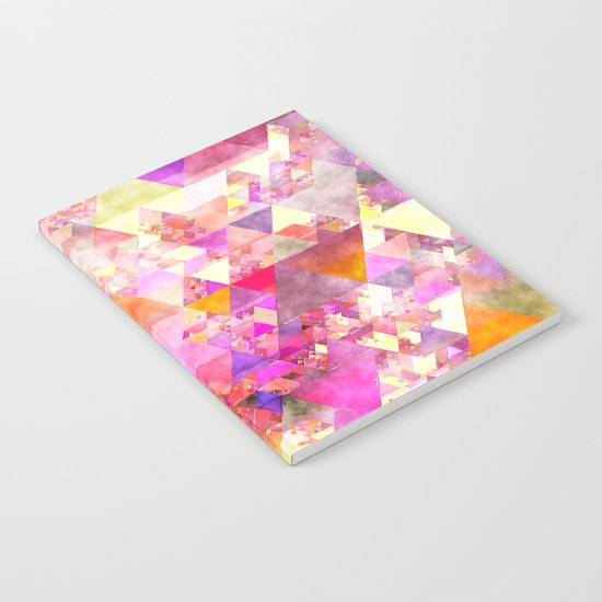 Abstract pink purple yellow -Colorful triangle pattern #Society6 Notebook