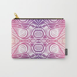 Birds Kissing, Tribal Pattern, Sunset Carry-All Pouch